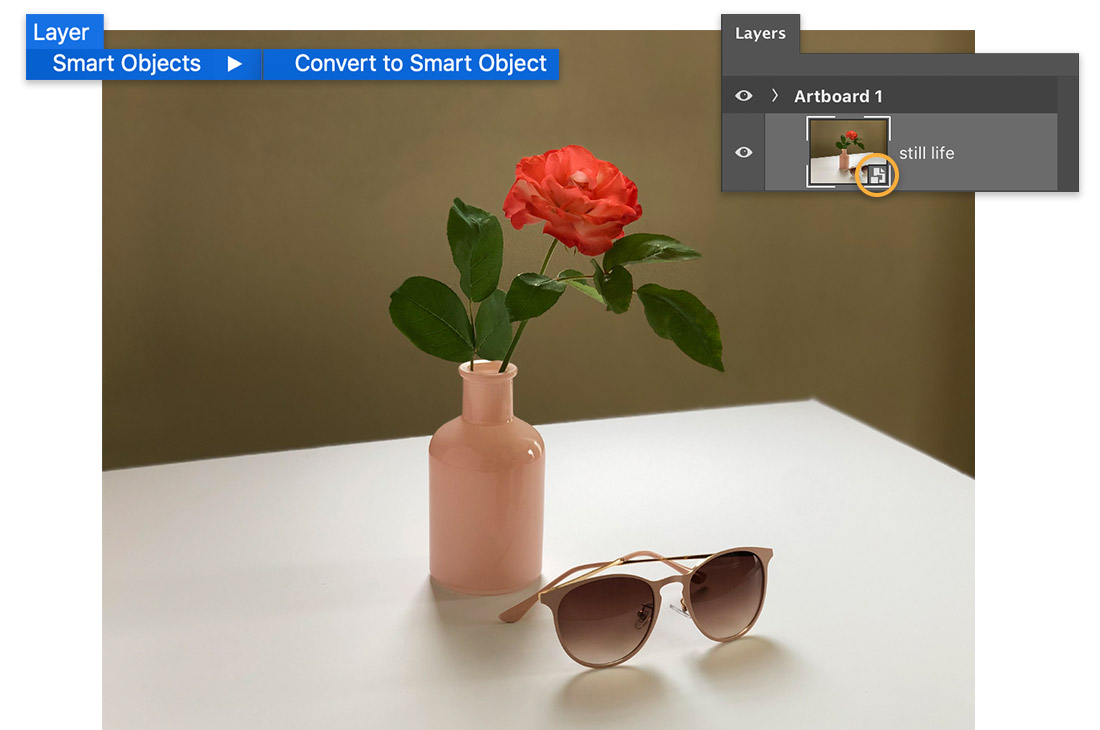 Layer > Smart Objects > Convert to Smart Object menu over image of flower in vase, Layers panel shows smart object on layer