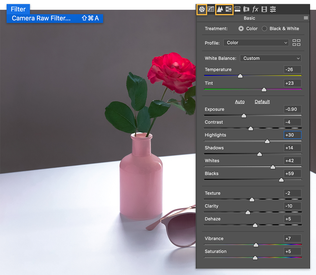 Filter > Camera Raw Filter menu over image of flower in vase, the Basic panel of the Camera Raw Filter shows on right