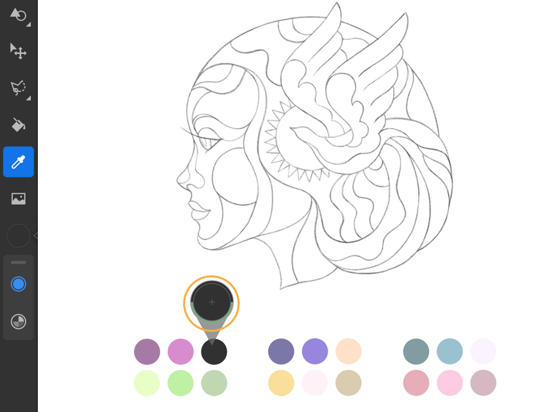 Adobe Fresco toolbar is on the left and a pencil sketch of a woman's profile displays on the right with color swatches below