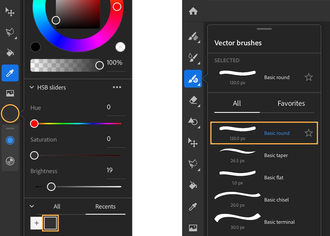 Left: Eyedropper and color chip are selected, black swatch added to library; Right: Vector brushes shows Basic round brush