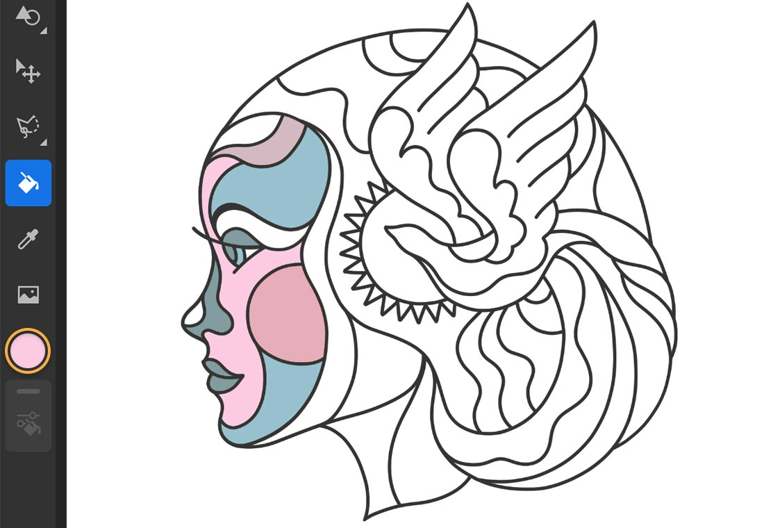 Paint Bucket selected, color chip set to pink, parts of face are filled with shades of pink and blue