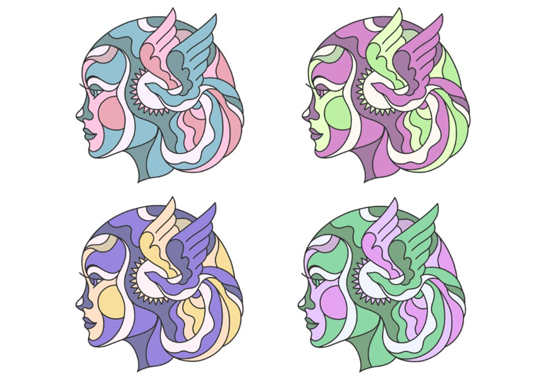 4 versions of the profile illustration showing different color combos; pinks & blues, greens & purples, purples & yellows