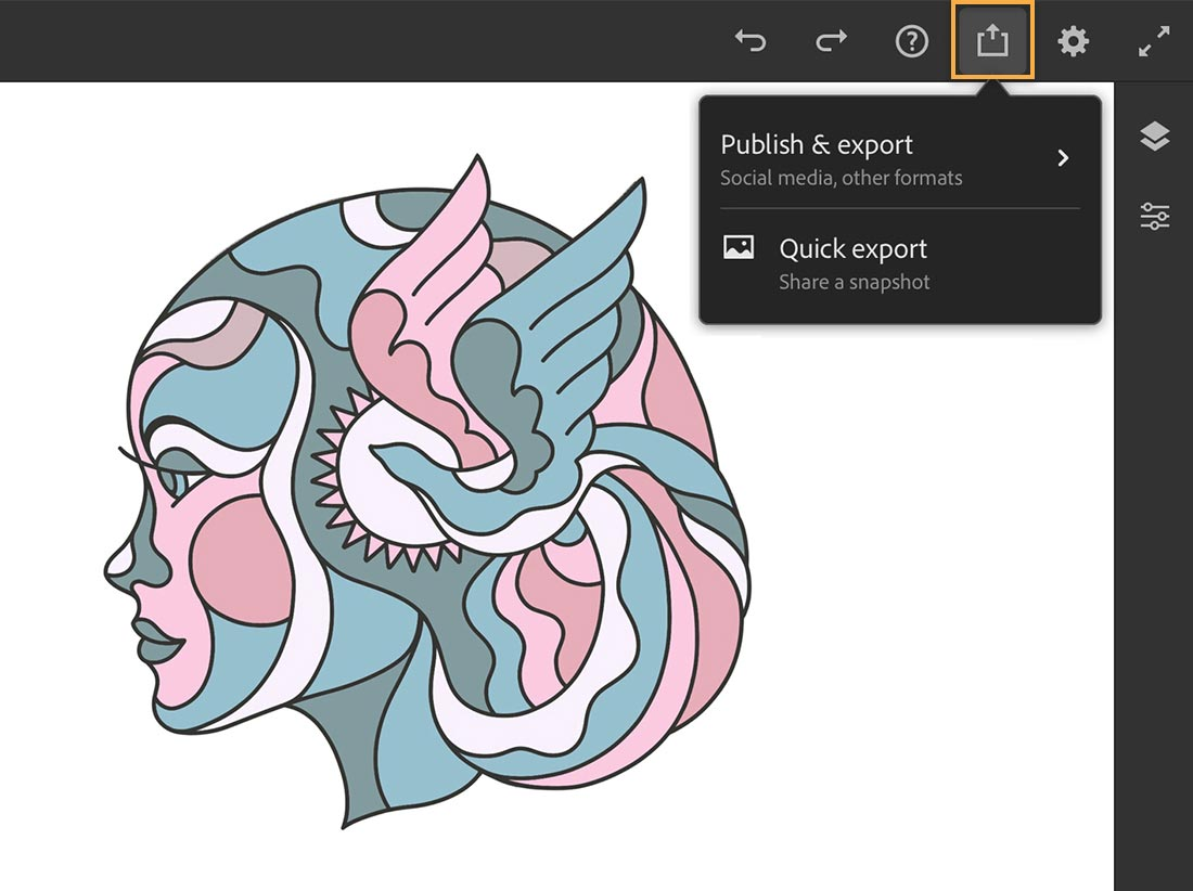 Share icon is selected and shows Publish & Export and Quick Export options above colored line art