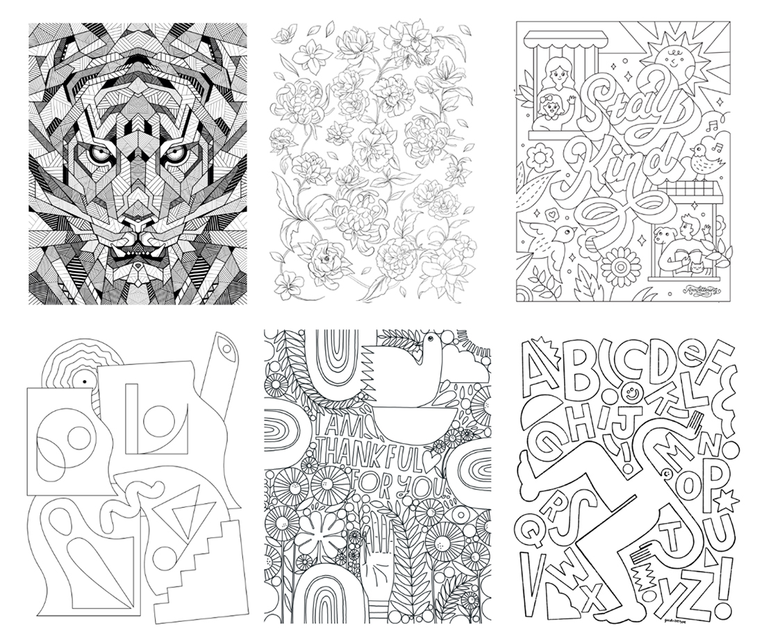 6 line art styles: lion head, flowers, 'Stay Kind' with families and birds, abstract art, 'Thankful' message, and letterforms