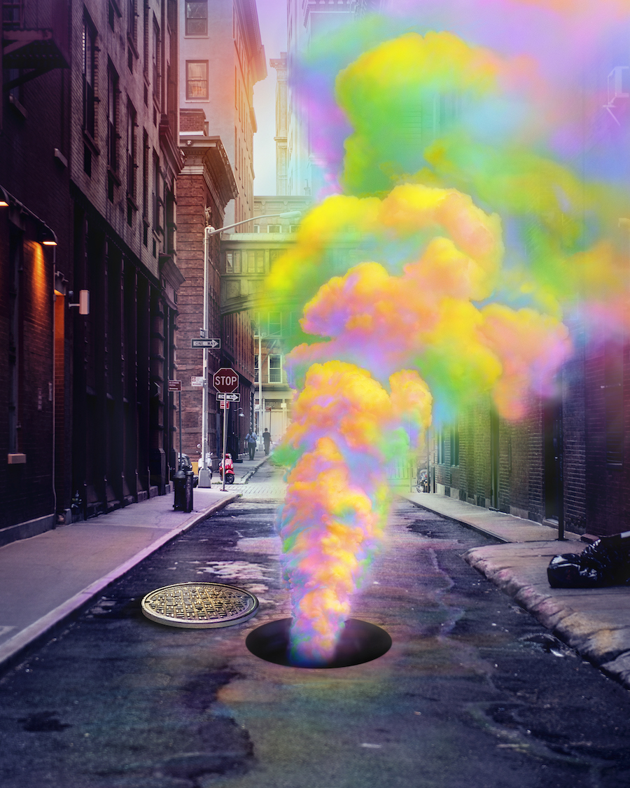 digitally manipulated image of steam from a street vent, by Ramzy Masri