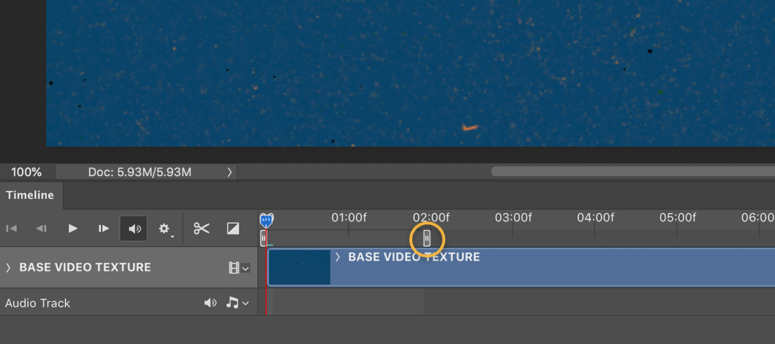 Settings on BASE VIDEO TEXTURE layer in Photoshop Timeline shows Replace Footage option selected