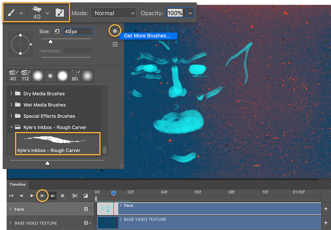 Face sketched with cyan color, Brush settings show Kyle's Inkbox – Rough Carver brush is set to 40, Get More Brushes option