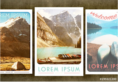 Vintage Travel Posters Set, from Adobe Stock