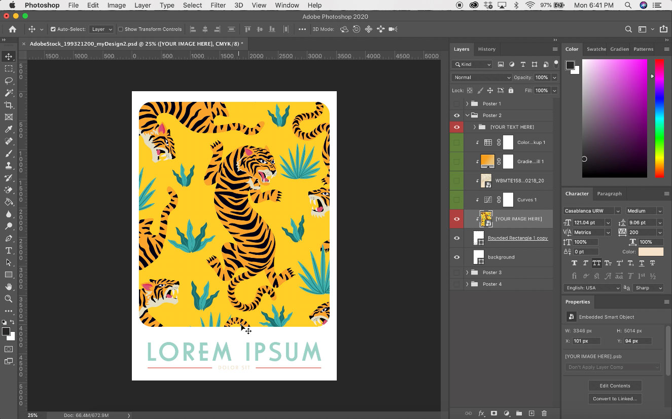 screenshot of an Adobe Photoshop window with a tiger illustration in a poster template