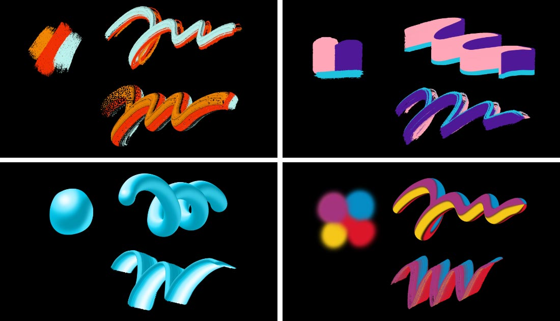 4 different multicolor brush stroke styles