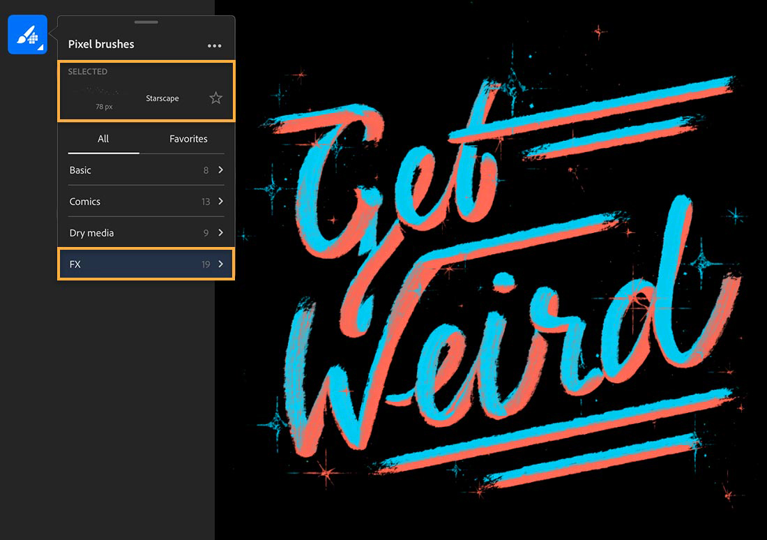 Pixel brushes set to Starscape, salmon and turquoise starbursts appear behind the words 'Get Weird'