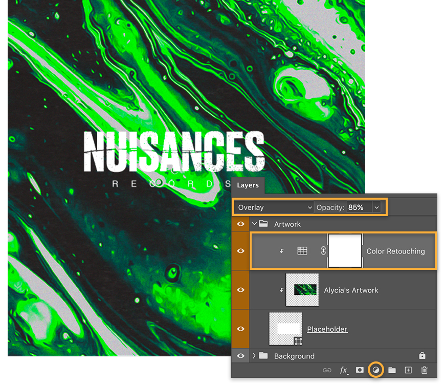 "Green, white, and black textured background and the title ""Nuisances Records"", Color Retouching applied to art layer"