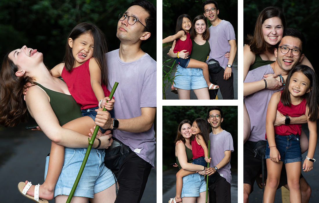 4 photos containing a man, woman, and little girl in a red shirt in different, fun poses