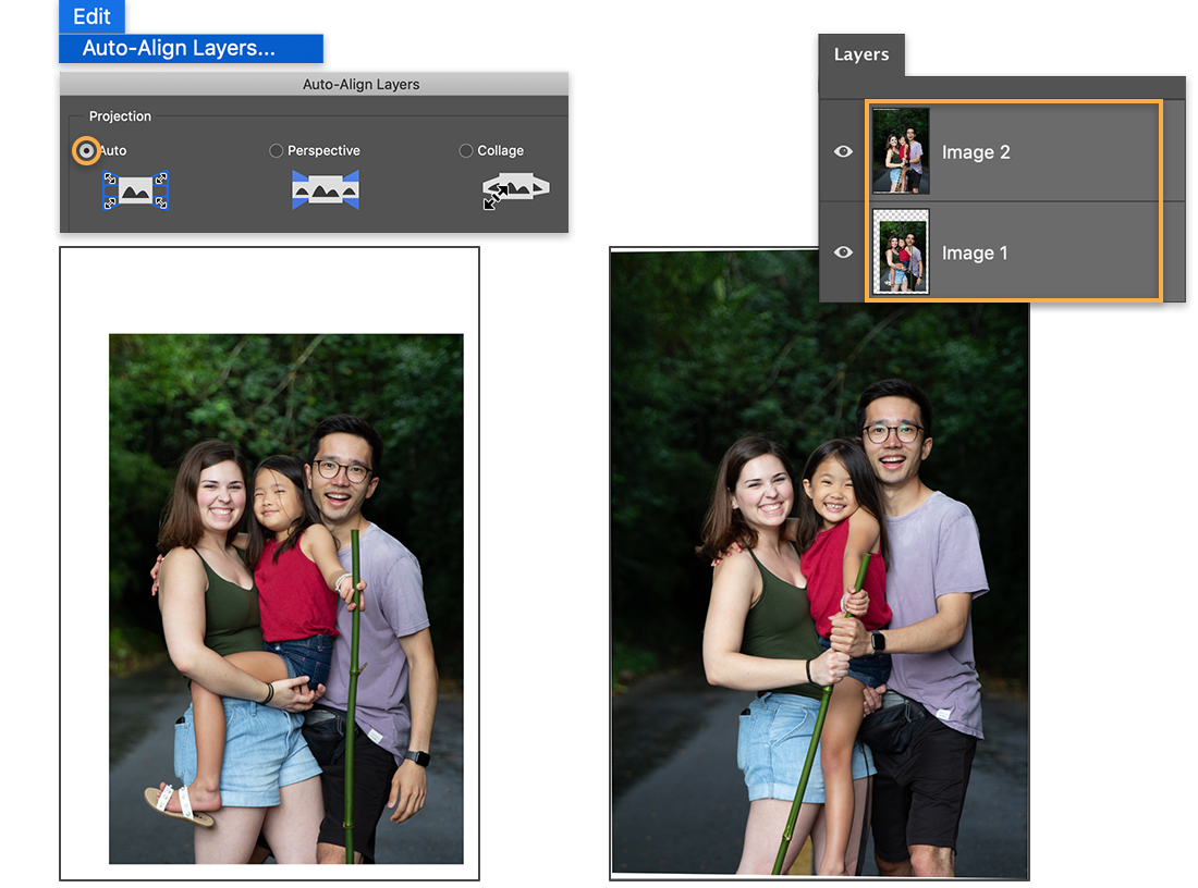 Left: Auto-Align Layers set to Auto, image of woman, man, child has white space around it; Right: Image has less white space