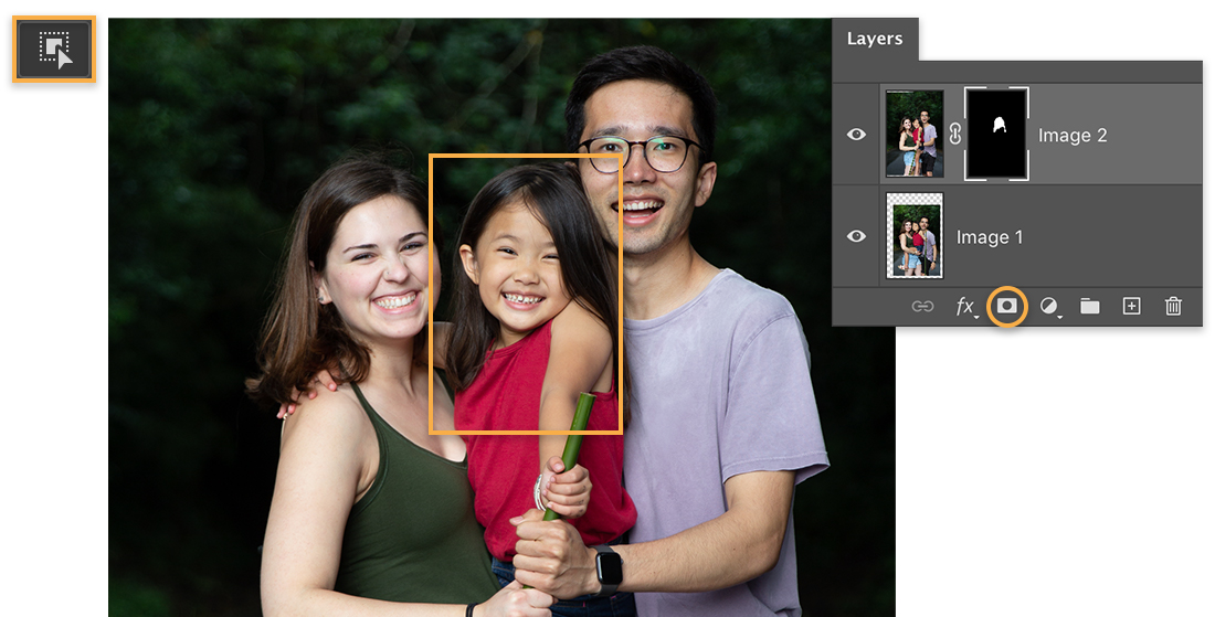 Object Selection tool icon is upper left, photo has orange callout around the girl, Layers panel shows mask on top layer