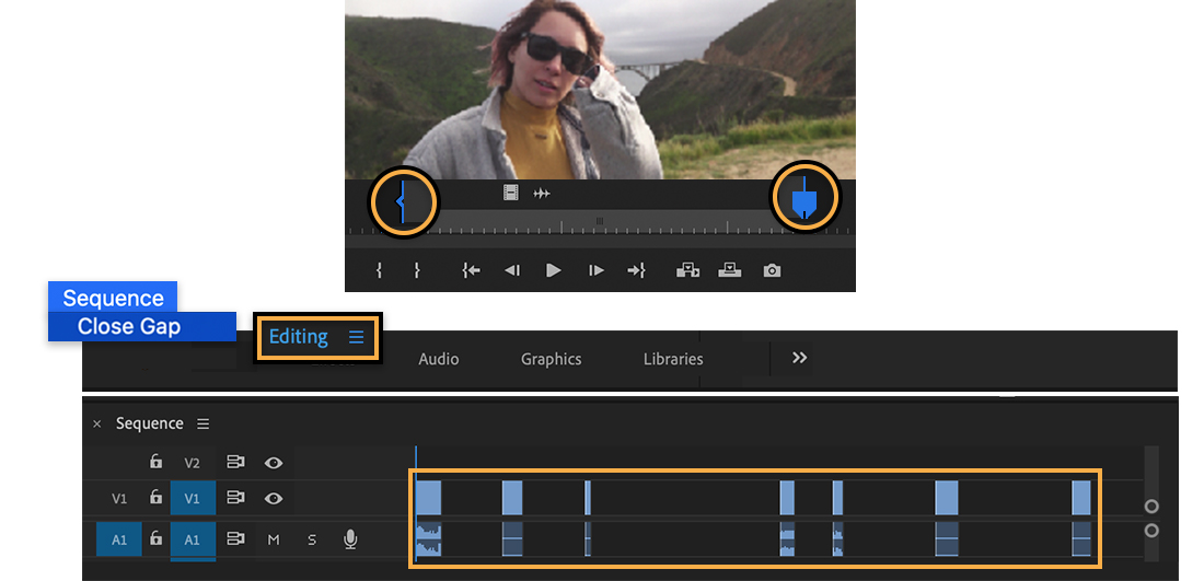 Top: Video clip has In and Out markers; Bottom: Editing workspace with gaps between clips on timeline and Close Gap selected