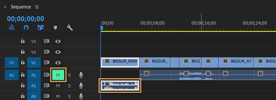 Timeline shows 1 video track and 2 audio tracks, 1 audio clip has been moved to the A2 track