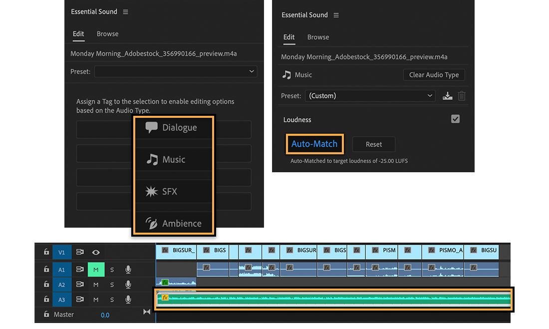 Top left: Essential Sound Edit has 4 audio types; Top right: Loudness set to Auto-Match; Bottom: Music track highlighted