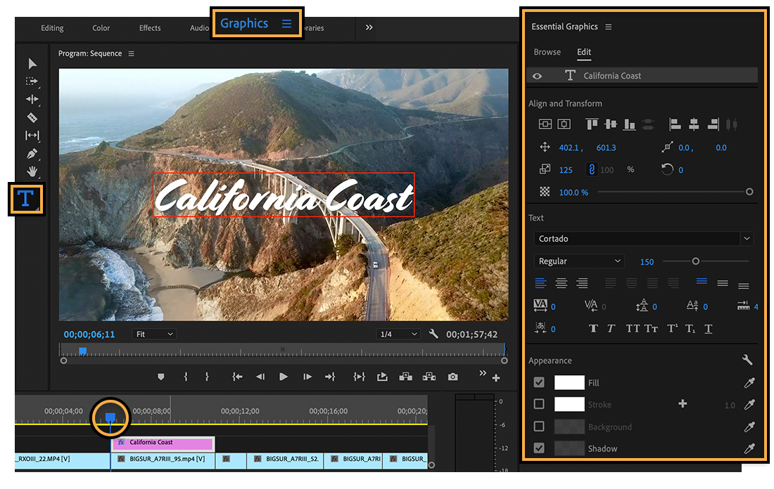 "Graphics workspace shows Type tool, ""California Coast"" title set to white Cortado font and drop shadow, starting at 6 seconds"