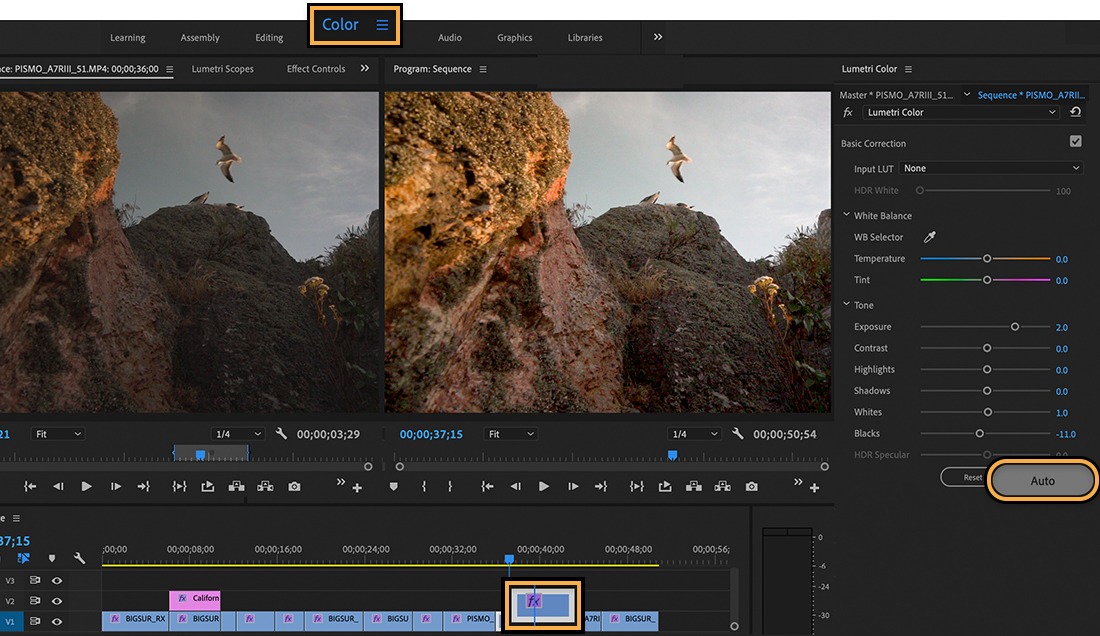 Color workspace shows before and after version of clip where original, darker version has lighting effects applied