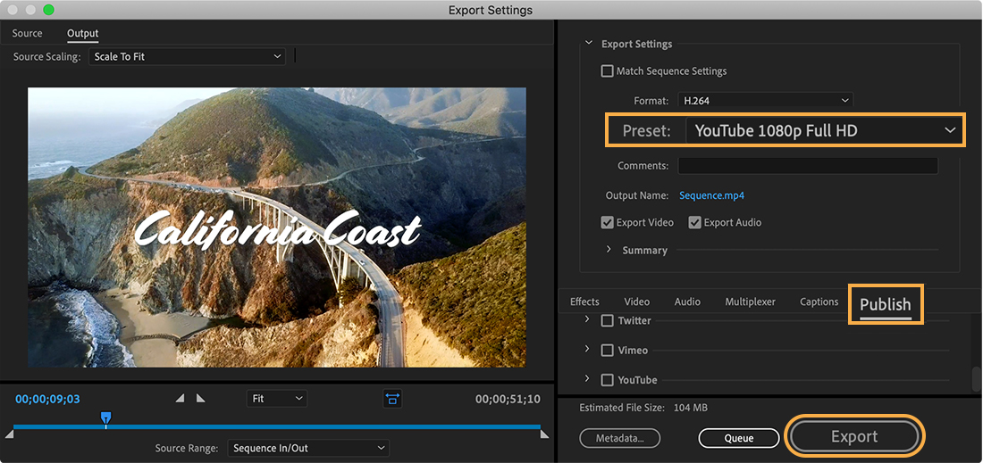 Export Settings show Preset set to YouTube 1080p Full HD, and the Publish tab and Export button are highlighted