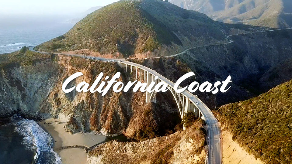 50-sec video showing the presenter a Bixby Bridge followed by scenes of the bridge and the areas of the nearby coast