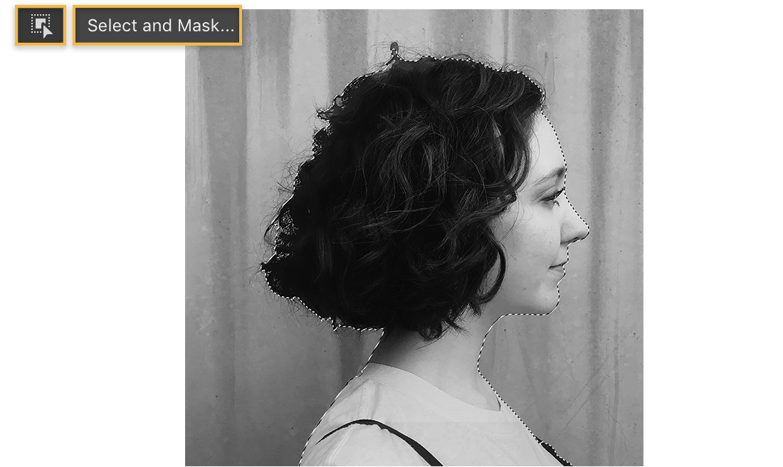 The profile headshot is selected and the Object Selection tool and Select and Mask buttons are displayed on the left.