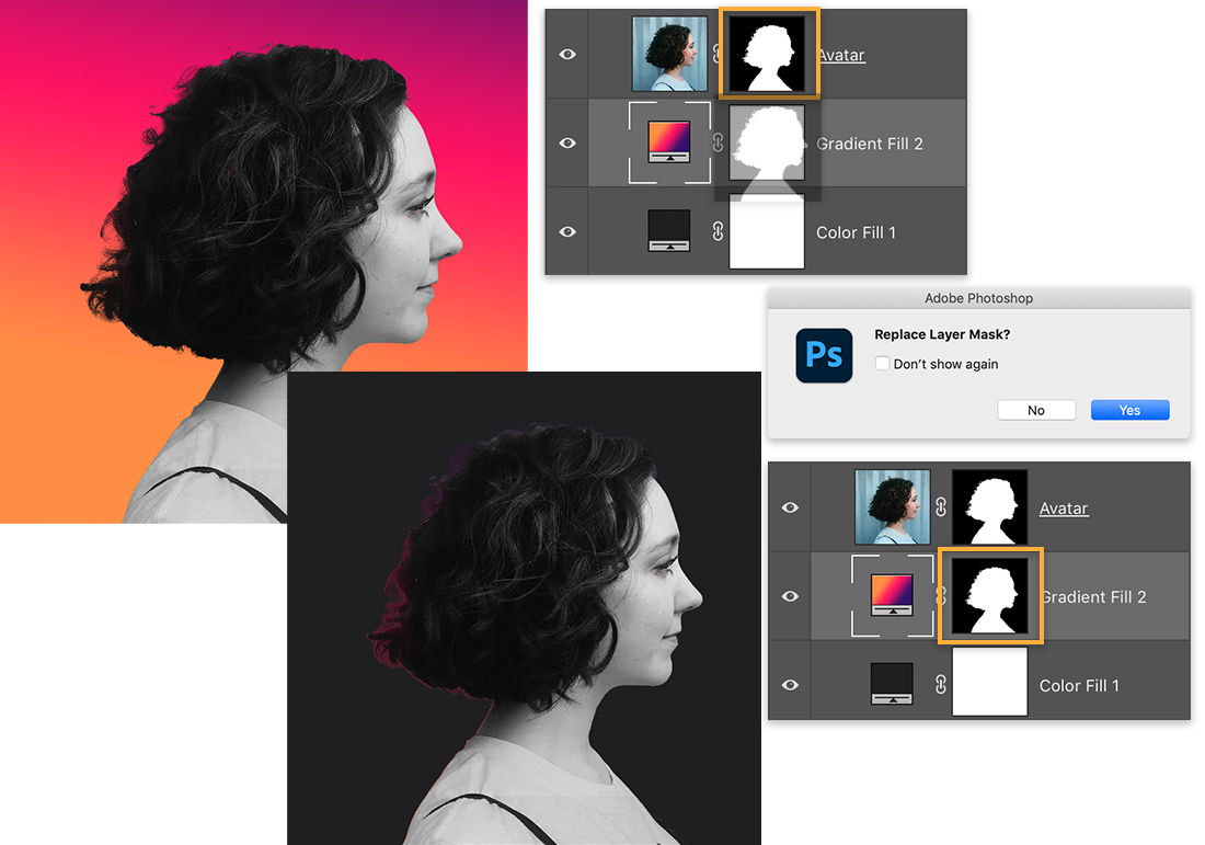The original layer mask is copied to Gradient Fill layer in the Layers panel and the gradient adds a glow around the hair.