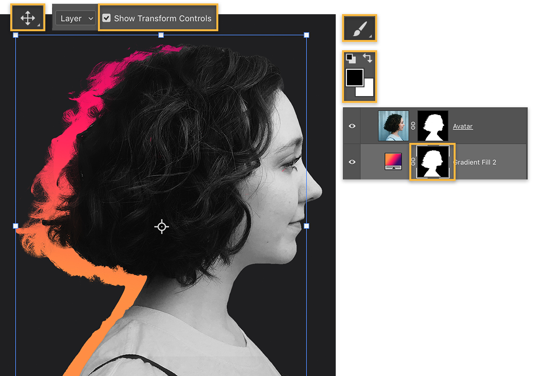The Move tool was used to enlarge the gradient and move it to the left of the profile. The Brush tool is set to black.