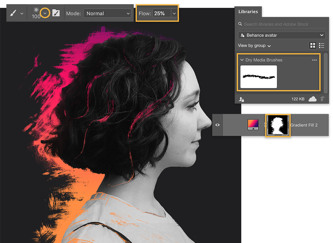 The Brush tool is set to the Deliciously Dry Brush, Flow is 25%, and the color is white to reveal more of the gradient.